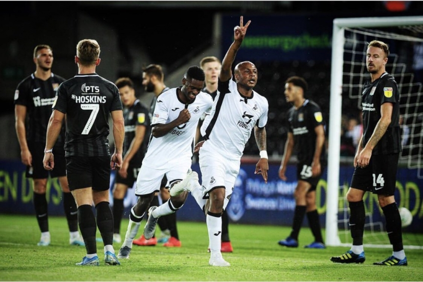 Andre Ayew on cloud nine after scoring BRACE on Swansea City return