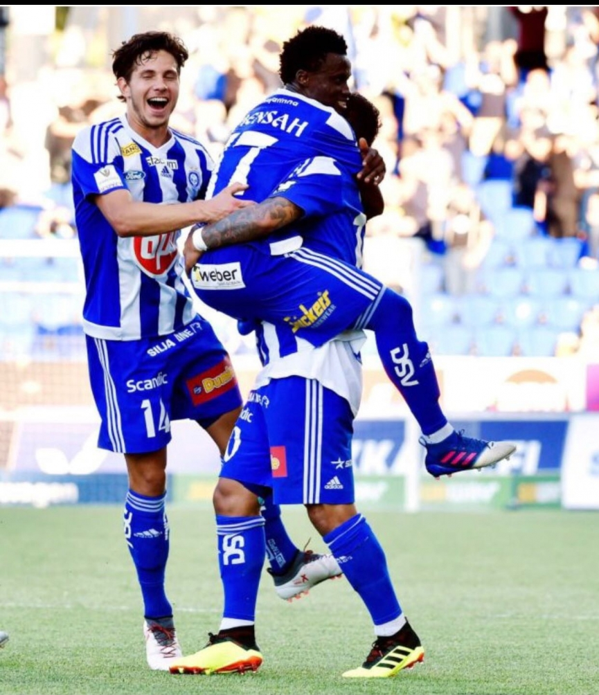 Evans Mensah scores as HJK progress in Champions League