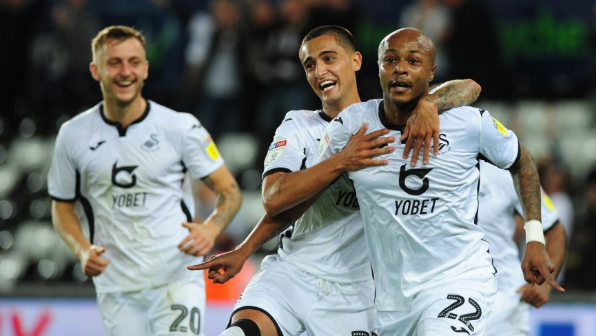 SUPER SUB: Andre Ayew came off the bench to hit BRACE to power Swansea City to victory in Carabao Cup