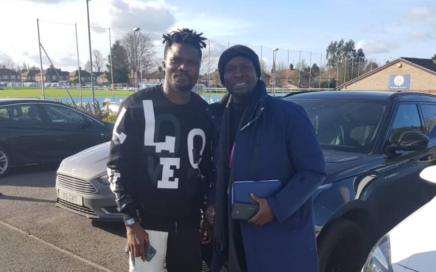 CK Akonnor meets Daniel Amartey and Leicester City manager Brendan Rodgers