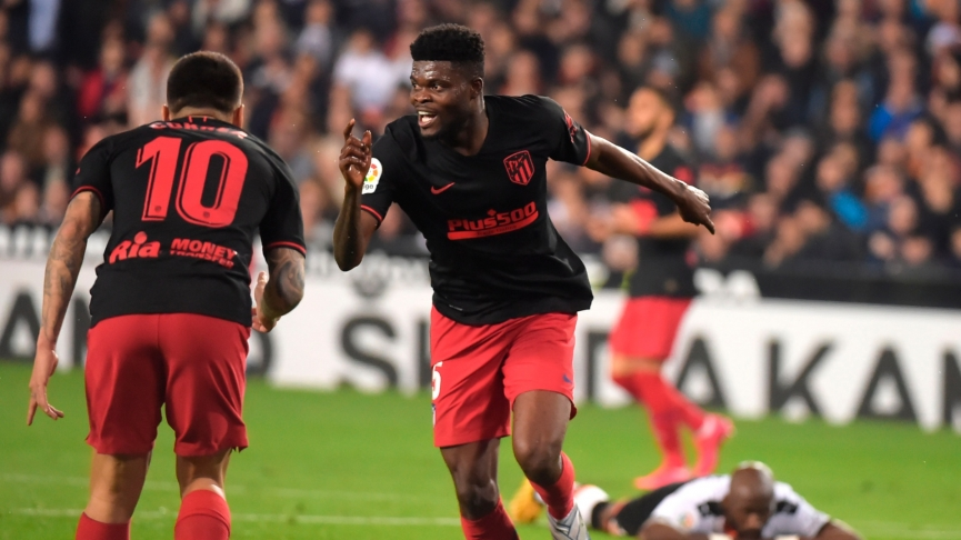 Thomas Partey scores in Atletico Madrid away draw with Valencia