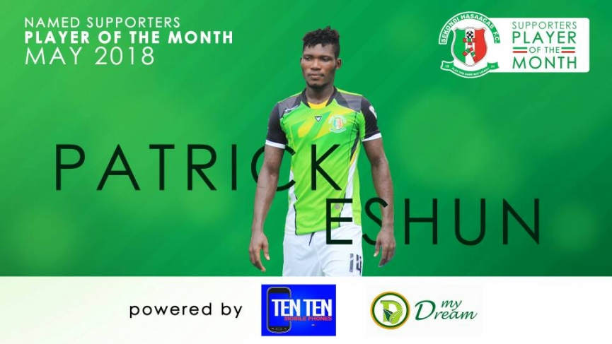 Patrick Eshun wins Sekondi Hasaacas Supporters Player of the Month for May