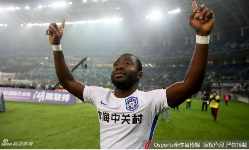 Ghana winger Frank Acheampong scores his 11th league goal for Tianjin Teda in China