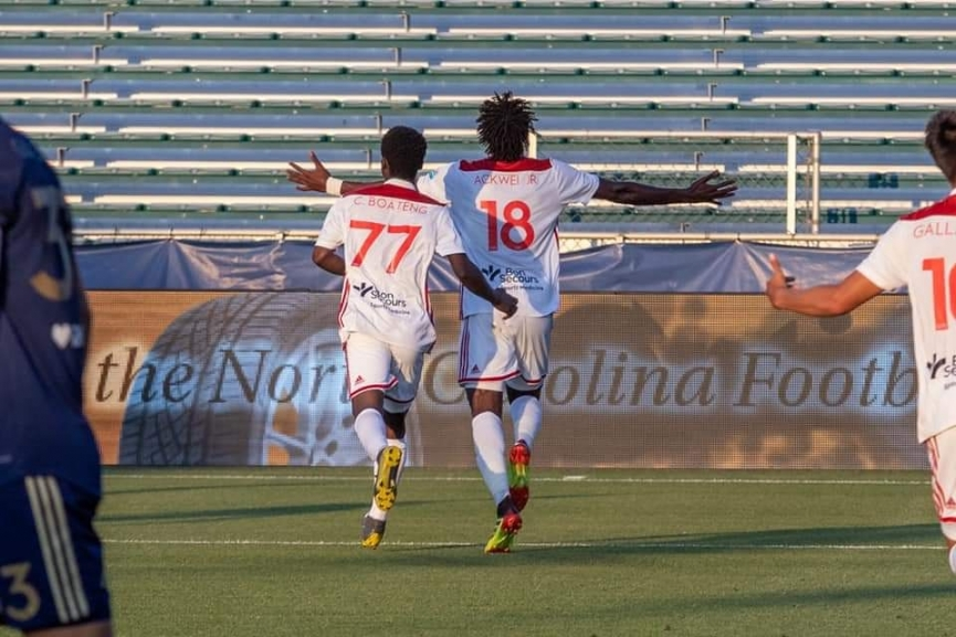 Wahab Ackwei scores his first goal for Richmond Kickers in USA