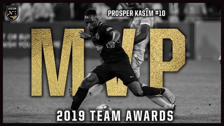 Prosper Kasim wins Birmingham Legion Player of the season Award