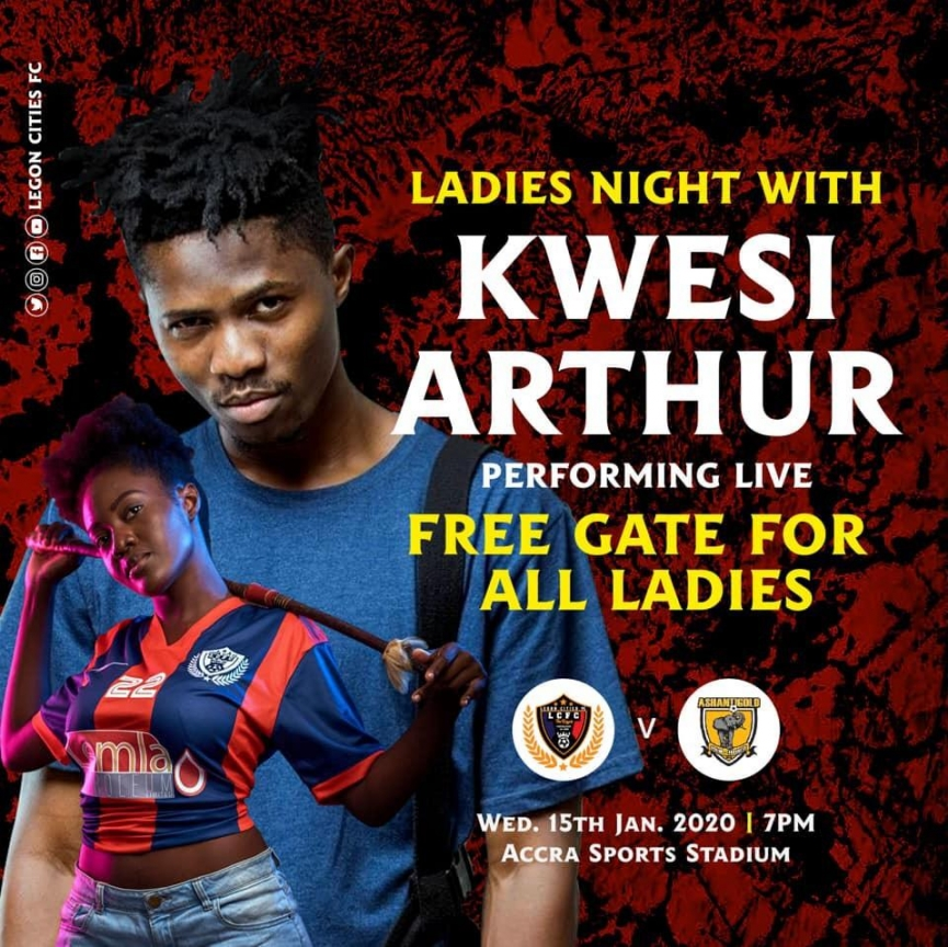 Rapper Kwesi Arthur billed to perform at Legon Cities FC clash with Ashanti Gold SC tomorrow