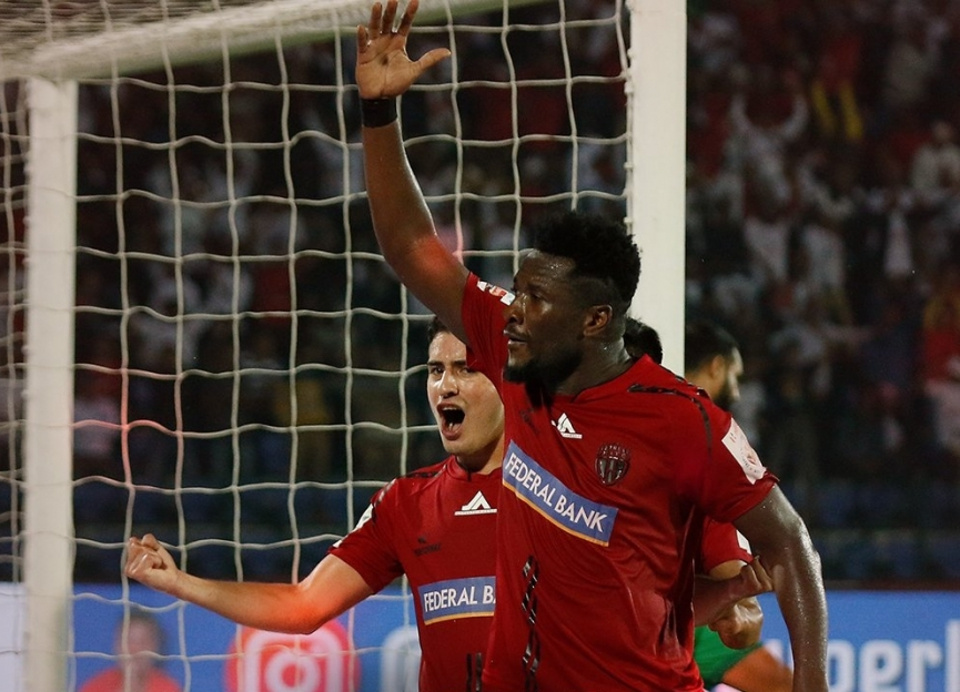 Asamoah Gyan scores third goal for NorthEast United on injury return