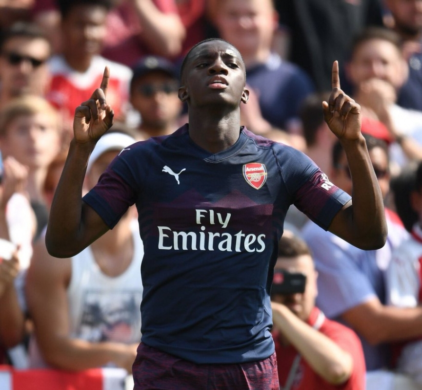 Ghana's Eddie Nketiah scores in Arsenal preseason win
